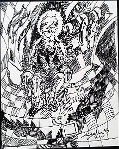 Aluisio Zaluar - Pintura Original Nanquim sobre Papel