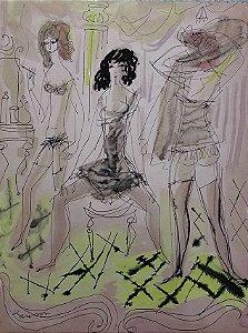 Janson -  Quadro, Pintura em Aquarela Original, Galerie Hervé, Paris