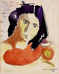 Hilda E. Campofiorito - Pintura Guache sobre Cartão,  Figura Feminina