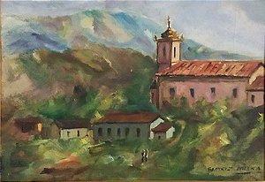Beatriz Dutra - Pintura Igrejinha Em Minas, Óleo sobre Eucatex, 1976
