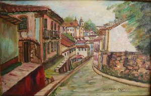 Beatriz Dutra - Pintura, Cidade Colonial, Óleo sobre Eucatex