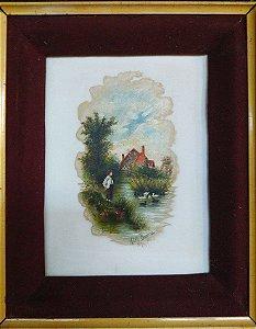 Adelia Bayma - Antiga Pintura sobre Porcelana, 1904, Assinada