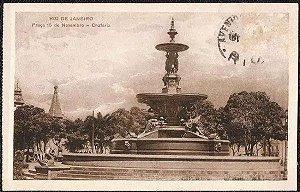Rio De Janeiro - Praça 15 De Novembro, Chafariz - Cartão Postal Antigo Original, Tipográfico