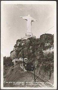 Rio De Janeiro - Trem, Caminho de Ferro Ao Corcovado, Cartão Postal Antigo Original