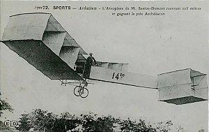 Santos Dumont - Avião 14 Bis - Cartão Postal Antigo Original, Tipográfico