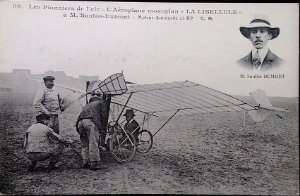 Santos Dumont - Aeroplano La Libellule, Cartão Postal Antigo Original, Tipográfico