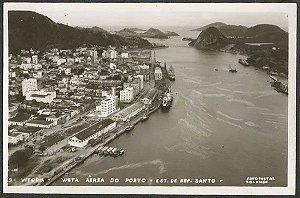 Espírito Santo - Vitória, Vista Aérea do Porto - Cartão Postal Fotográfico Antigo Original