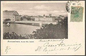 Pernambuco, Recife - Ponte Sta. Isabel, Cartão Postal Tipográfico Antigo, Original, 1904