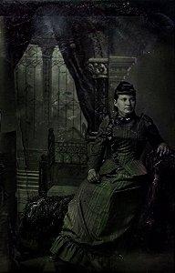 Ferrótipo / Ferrotipia - Antiga Fotografia Mulher Elegante