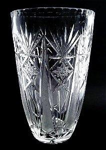 Antigo Vaso Em Cristal Lapidado de Alta Qualidade e Transparência - 30 cm de Altura