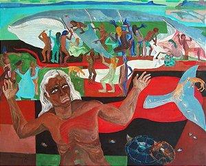 Tio Hok Tjay - Quadro, Pintura Óleo Sobre Tela, Assinado, 1977, Denúncia Caça às Baleias