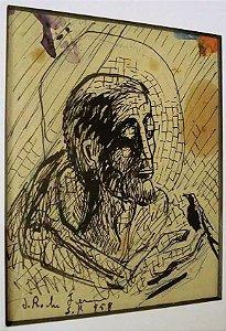 Joaquim da Rocha Ferreira - Quadro, Nanquim, Imagem de  São Francisco De Assis, Assinado