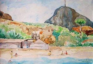 Clovis S. Figueiredo - Pintura, Aquarela S/ Papel Assinada, Praia no Rio de Janeiro