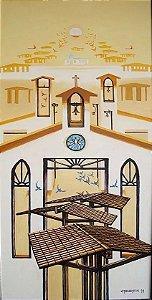 Eduardo Takebayashi -  Quadro, Pintura, Igreja e Pássaros,  Acrílico S/ Tela Assinado,  87x53cm