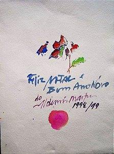 Aldemir Martins - Pintura Aquarela Sobre Papel - Assinada, Natal  1998/99