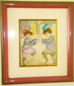 Norha Beltran - Quadro, Pintura  Aquarela Original Assinada,  Dança de Salão, de 1984