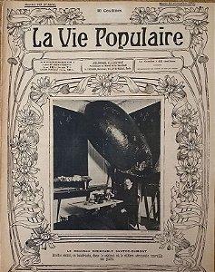 Santos Dumont em seu Escritório e Modelo do Dirigível - Jornal La Vie Populaire, Original De 1904