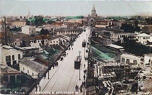 São Paulo, Cartão Postal Antigo do Viaduto Sta. Efigenia, Movimento de Bondes