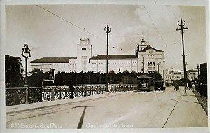 São Paulo, Postal Antigo Colégio São Bento, Bondes e Carros