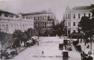 São Paulo, Cartão Postal Antigo do Largo de São Bento, Movimento de Bondes, Carros, Carroça