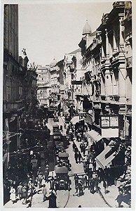 São Paulo, Cartão Postal Antigo da Rua 15 De Novembro, Intenso Movimento de Bonde e Carros