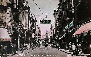 São Paulo, Cartão Postal Antigo da Rua 15 Novembro, Movimento Pedestres