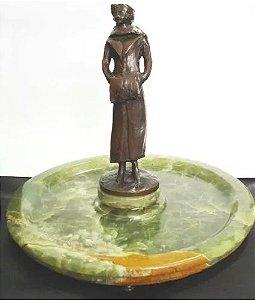 Escultura Austríaca em Bronze com Base Porta-cartão e Despojador em Onix