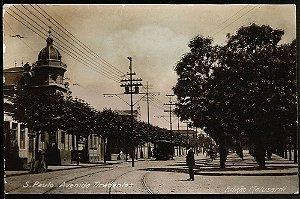 São Paulo Cartão Postal Antigo Original com Bonde na Av. Tiradentes