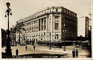São Paulo - Cartão Postal Antigo Original do Prédio da Light & Power com Bondes e Pessoas
