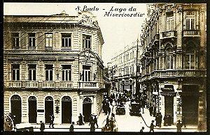 São Paulo - Cartão Postal Antigo Original, Largo da Misericórdia , Carros, Carroças e Pedestres