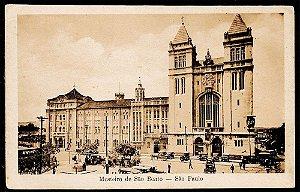São Paulo - Cartão Postal Antigo Original, Mosteiro de São Bento com Carros e Carroças
