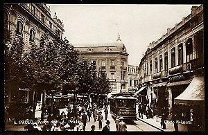 São Paulo - Cartão Postal Antigo Original,  Praça Antonio Prado com Bondes e Pessoas