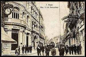 São Paulo - Cartão Postal Antigo Original, Rua 15 De Novembro, Movimento de Bonde e Pedestres