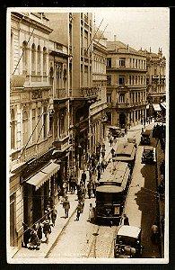 São Paulo - Cartão Postal Antigo Original, Rua Direita com Bondes, Carros e Pedestres