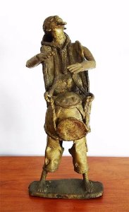 Importante Escultura Africana em Bronze, Nigéria