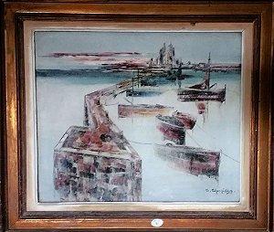 C. Charpidês - Quadro, Arte em Pintura,  Porto Marinha, Pintura Original, Óleo sobre Tela, Assinada