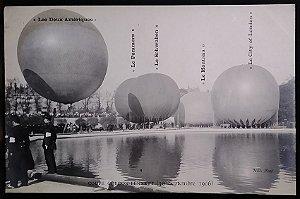 Santos Dumont -  Raro Cartão Postal Antigo - Balão As Duas Américas, Copa Gordon Bennett - 1906