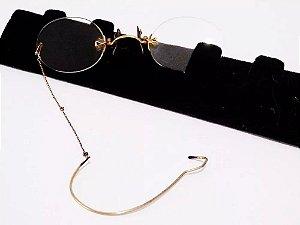 Antigo Par de Óculos Pince Nez, Orach, Banho em Ouro 12k, Lentes Nuas, Estojo Original em Couro