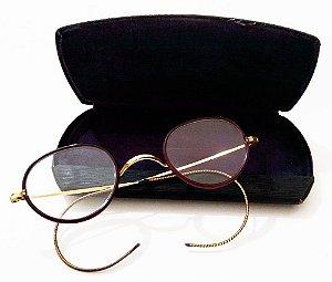 Par de Óculos Antigos em Ouro 1/20 - Hastes Flexíveis - Algha USA - No Estojo Original