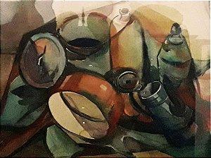 João Kozo Suzuki - Pintura Quadro Arte em Aquarela,  Emoldurada 70x56cm
