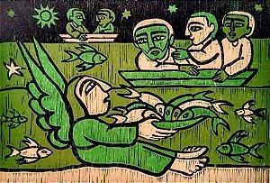 Raimundo de Oliveira - Quadro, Arte em Xilogravura Original, A Pequena Bíblia