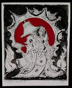 Newton Cavalcanti - Quadro, Arte em Xilogravura Original, Prova de Artista