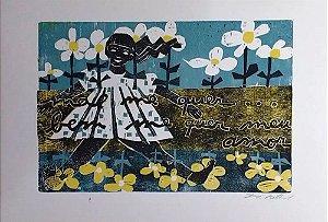 Zorávia Bettiol -  Arte em Gravura, Xilogravura Série Namorados, com Passe-Partout