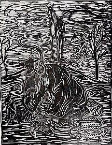 Zenon Barreto - Arte em Gravura, Xilogravura de Vaqueiro dos Inhamuns