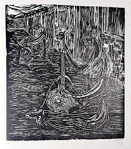 Zenon Barreto - Arte em Gravura, Xilogravura Rendeiras do Aracati, Original