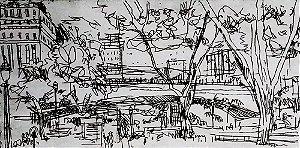 Paulo Von Poser - Arte em Gravura Original Assinada e Numerada, Viaduto do Chá, São Paulo