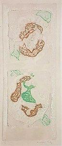 Rossini Perez - Gravura de Arte Abstrata com Forte Relevo