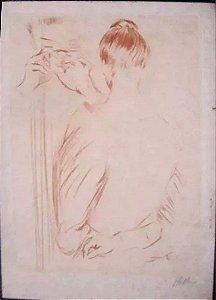 Paul Cesar Helleu - Arte Antiga em Gravura Original Assinada, Feminino no Espelho