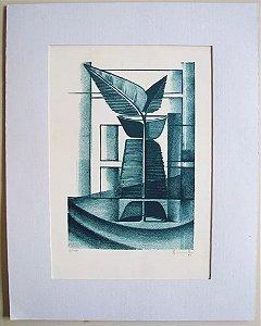 Gravura Assinada - Arte Abstrata Botânica em Azul, de 1981