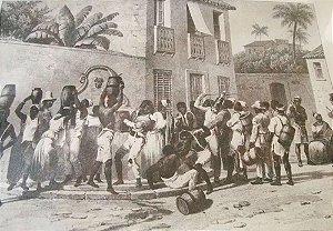 Arte em Gravura Antiga de Obra de Debret, Carregadores de Água, Cena Urbana do Brasil Colonial